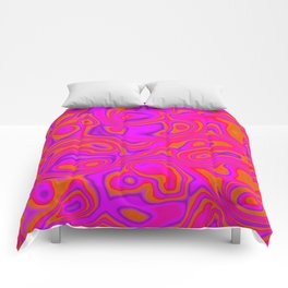 Pink Psychedelic Oil Pattern Comforters