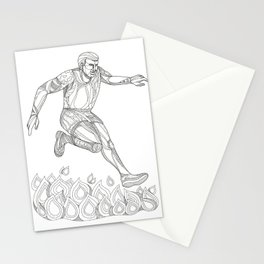 Obstacle Racer Jumping Fire Doodle Art Stationery Cards