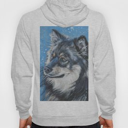 Finnish Lapphund dog portrait art from an original painting by L.A.Shepard Hoody