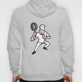 Chef Cook Holding Frying Pan Kung Fu Stance Cartoon Hoody
