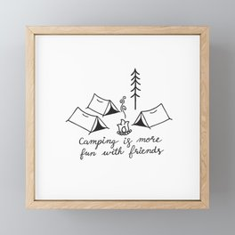 Camping with Friends in Black Framed Mini Art Print