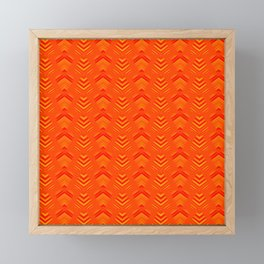 Pattern of intersecting hearts and stripes on an orange background. Framed Mini Art Print