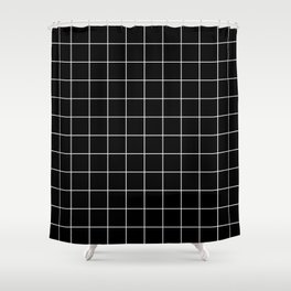 Grid Simple Line Black Minimalist Shower Curtain