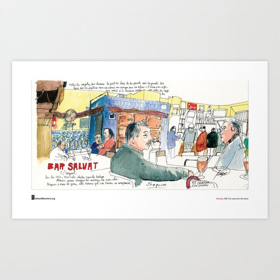 "Swasky, ""Plaça Joan Peiro"" Art Print"