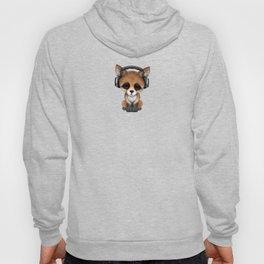 Cute Red Fox Cub Dj Wearing Headphones Hoody