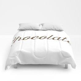 Chocolate Script Comforters