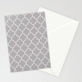 Gray Latticework, Quatrefoil, Moroccan Trellis Stationery Cards