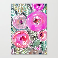 GARDENS OF BERKELEY Pink Watercolor Floral Canvas Print