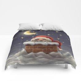 Little Santa in a chimney Comforters