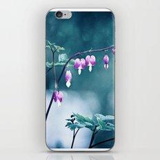 Bleeding Hearts Flower Photography, Navy Pink Purple Floral Nature Art iPhone & iPod Skin