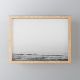 Surfers - Black and White Ocean Photography Huntington Beach California Framed Mini Art Print