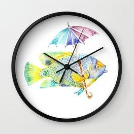 Fishy Fish - Original Watercolor of Yellow Mask Angel Fish with Umbrella Wall Clock