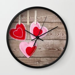 I - Clothesline with Valentine's Day hearts decorations on a rustic background Wall Clock
