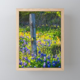 Country Living - Fence Post and Vines Among Bluebonnets and Indian Paintbrush Wildflowers Framed Mini Art Print