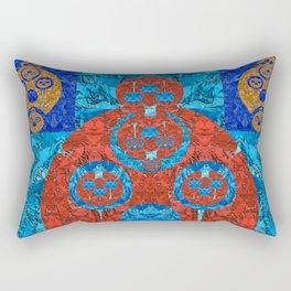 Prehistoric Futuristic Digital Quilt Rectangular Pillow