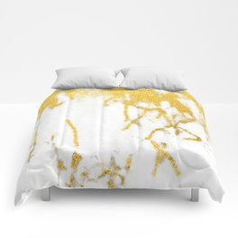 White Chocolate Marble Drizzled With Gold Veins Comforters