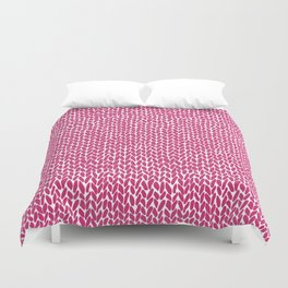 Hand Knit Hot Pink Duvet Cover