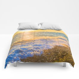 Golden sunset Comforters