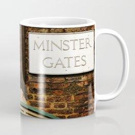 Minster gates and Minerva, the goddess of wisdom, in York, England Coffee Mug
