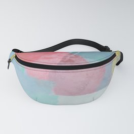 brush painting texture abstract background in pink blue yellow Fanny Pack