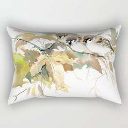Sparrows and Fall Tree, three birds, brown green fall colors Rectangular Pillow
