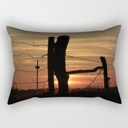 Kansas Colorful Sunset with a Barb wire Fence Silhouette. Rectangular Pillow