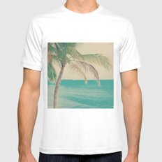 Coco Palm in the Beach  Mens Fitted Tee White MEDIUM