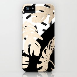 Simply Tropical Midnight Black Memphis Palm Leaves iPhone Case