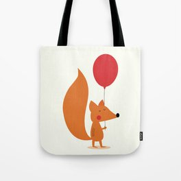 Fox With A Red Balloon Tote Bag