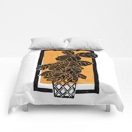 Fiddle Leaf Fig Block Print (Orange) Comforters