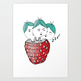 Strawberry Sisters Art Print