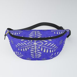 DP044-10 Silver snowflakes on blue Fanny Pack
