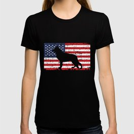 German Shepherd USA Flag Sheepdog Patriotic design Gift T-shirt