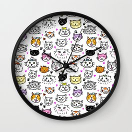 Whimsical Cat Faces Pattern Wall Clock