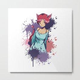 Cute Anime Neko Girl Metal Print