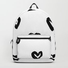 Hand Draw Hearts in Black on White Background Backpack