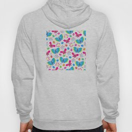 Easter Blue and Pink Butterfly Pattern Hoody