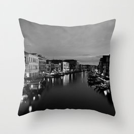 Amazing Venice, Italy travel, dark, black, white Throw Pillow