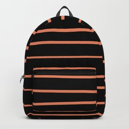 Fringe Orange, Orange Slice,Fiery Sky, Heirloom Tomato Hand Drawn Horizontal Lines on Black Backpack