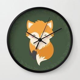Sleepy Fox Pattern Wall Clock