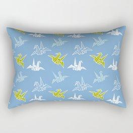 Blue Green Origami Crane Japanese Kimono Pattern Rectangular Pillow