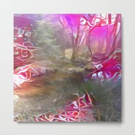 Pinked Wet Forest Metal Print