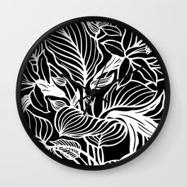 Black White Floral Wall Clock