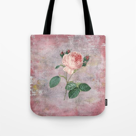 Vintage Rose - on pink grunge backround  - Roses and flowers Tote Bag