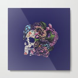 Day of the dead floral sugar skull with flowers colorful design Metal Print