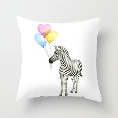 Zebra Watercolor With Heart Shaped Balloons Whimsical Baby Animals Throw Pillow