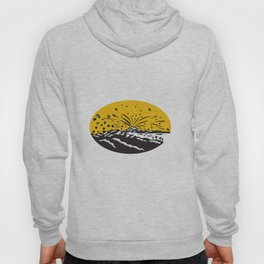 Volcanic Eruption Island Formation Oval Woodcut Hoody