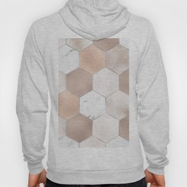Rose pearl and marble hexagons Hoody