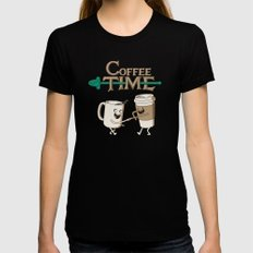 Coffee Time! Womens Fitted Tee MEDIUM Black