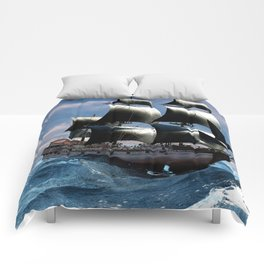 A beautiful sailboat in the open ocean Comforters